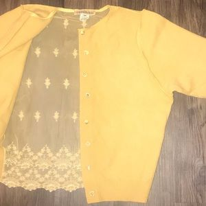 Sweaters - Yellow Lace Cashmere Sweater